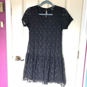 Drop waist lacy black dress